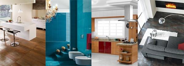 Diseño de ambientes modernos - Baños e hidromasajes - Revestimientos - Accesorios, muebles y campanas