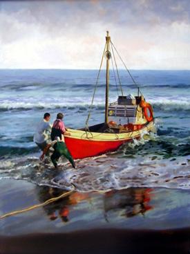 Pescadores - Técnica Óleo - 120 cm x 90 cm