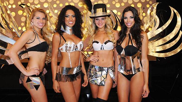 La chilena Dominique Tampier, la brasileña Pamela da Rocha, la uruguaya Paula Silva y la argentina María Paz Delgado, las Conrad Angels 2014