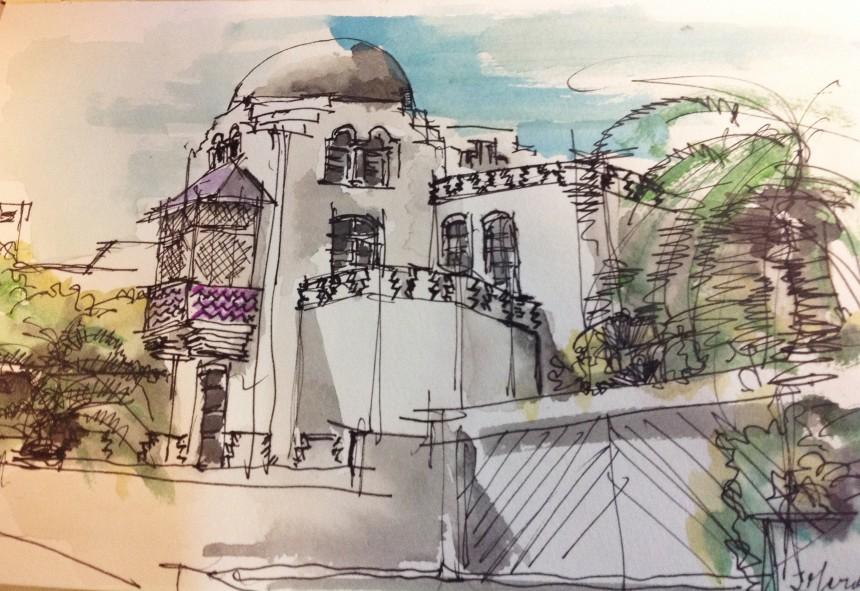 La Media Luna: croquis del Arquitecto Jose Eduardo Mariño