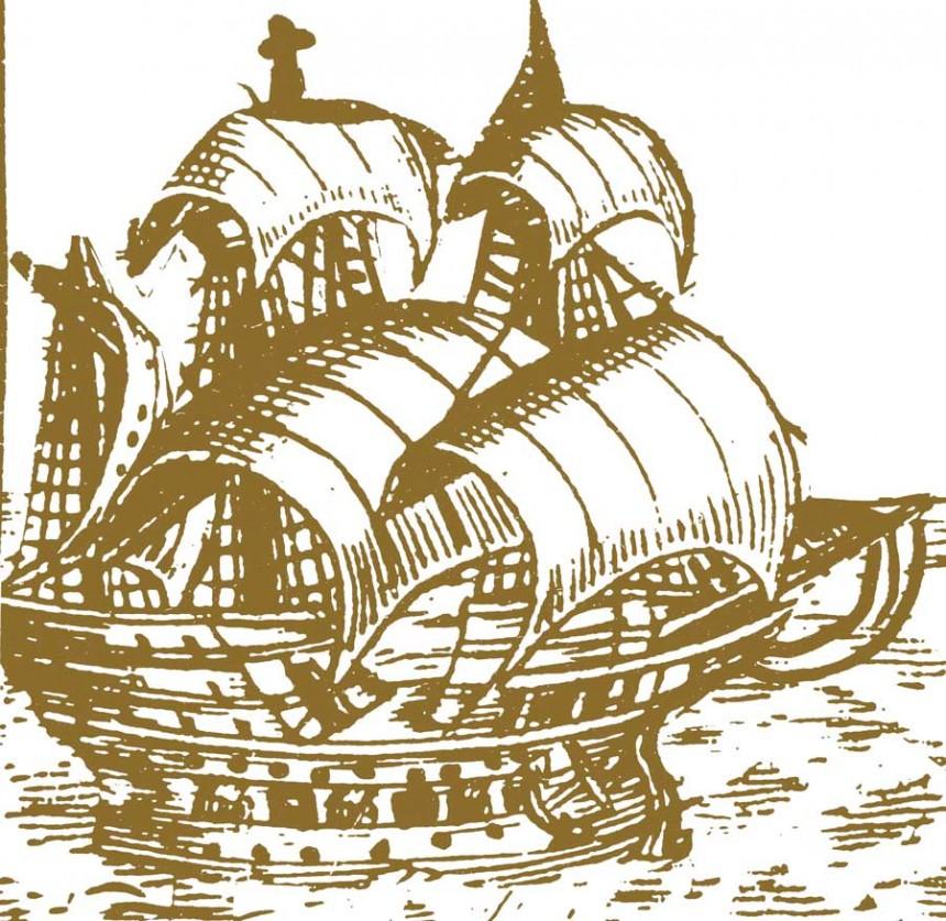 La expedición abandonó el puerto de San Lúcar en 1515, hacia la búsqueda de un pasaje entre el Océano Pacífico y el Océano Atlántico.