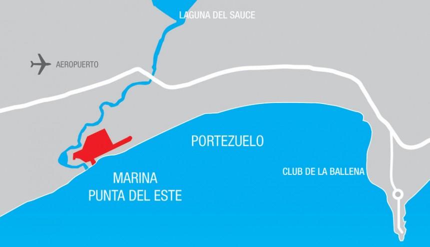 Mapa esquemático  de la ubicación del futuro puerto.
