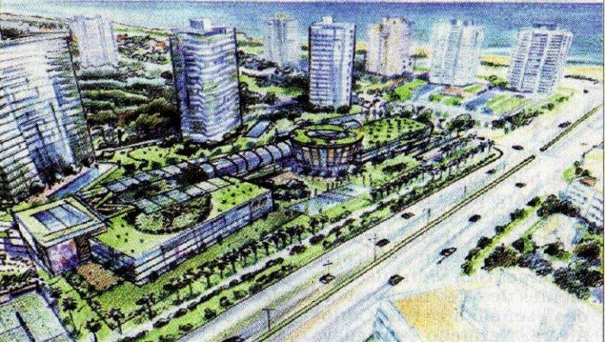 Boceto del Costanera One Mall, shopping que se instalará en el predio de las torres One, en la Avenida Roosevelt y Playa Brava.