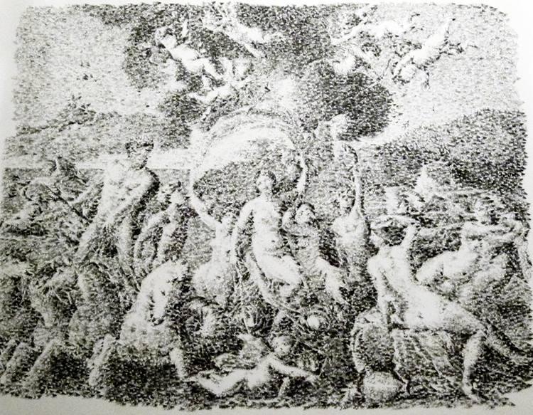 El triunfo de Neptuno y Anfitrite según Nicolás Poussin, 2013, Tinta de sellos sobre papel, 137 x 105 cm.