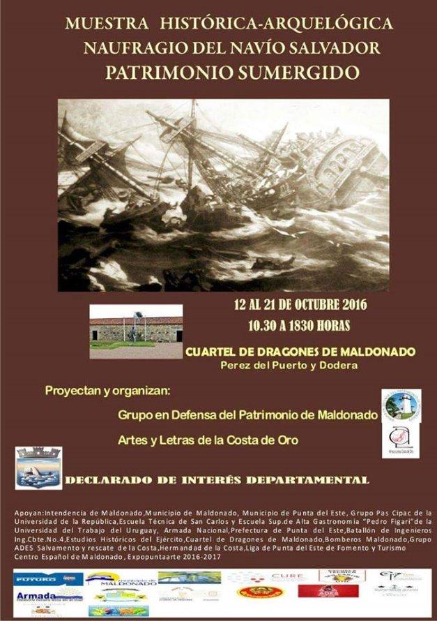 Del 12 al 21 de octubre se lleva a cabo la Muestra histórica-arqueológica del naufragio del navío Salvador.