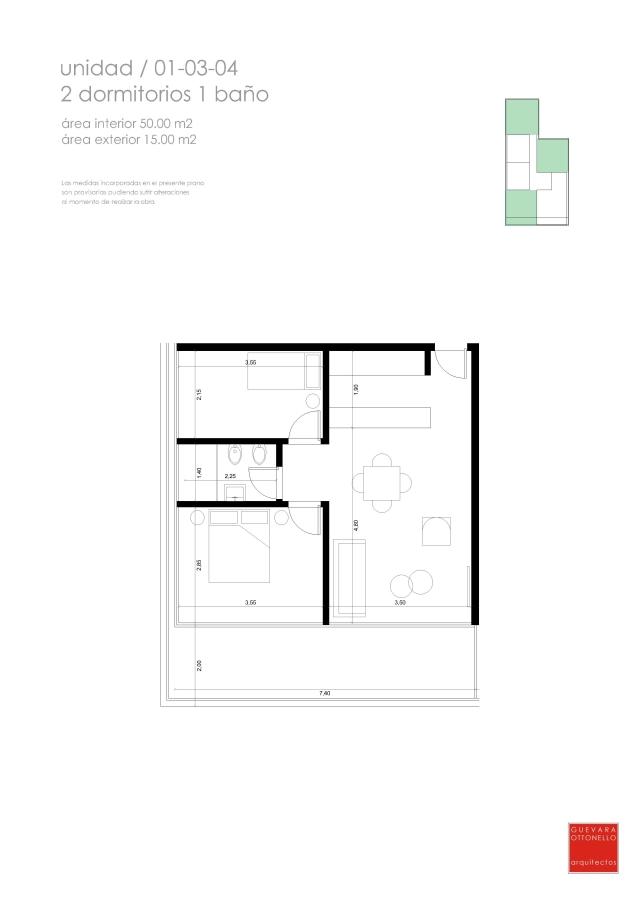 Plano 2 dormitorio